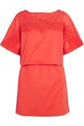 Vix Swimwear Mayra Floral Embroidered Appliqued Cotton Coverup Coral