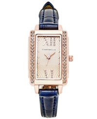 Charter Club Women's Navy Leather Strap Watch 22X30mm Only At Macy's Rose Gold