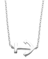 Unwritten Mini Anchor Pendant Necklace In Sterling Silver
