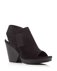 Eileen Fisher Plus Basket Weave Open Toe High Heel Booties Black