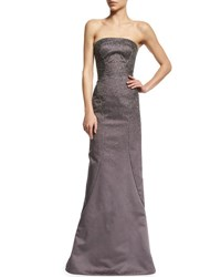 Zac Posen Beaded Strapless Satin Gown Heather Gray