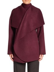 St. John Double Face Cocoon Coat Plum