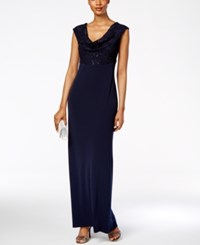 Connected Petite Lace Cowl Neck Gown Navy
