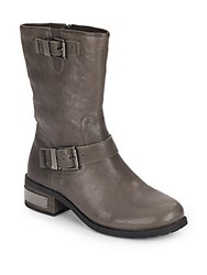 Vince Camuto Waldo Mid Calf Leather Biker Boots Grey