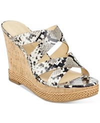 Ivanka Trump Habbie Strappy Wedge Platform Sandals Women's Shoes White Snake