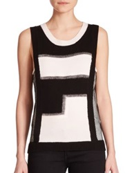 Sachin Babi Peot Two Tone Mixed Media Sleeveless Sweater Black White
