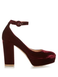 Gianvito Rossi Sherry Block Heel Velvet Pumps Burgundy