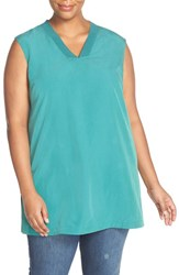 Sejour Plus Size Women's Ribbed V Neck Sleeveless Tunic Teal Green
