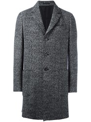 Z Zegna Woven Single Breasted Coat Grey