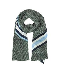 Tory Burch Gemini Link Striped Oblong Wool Scarf Norwood