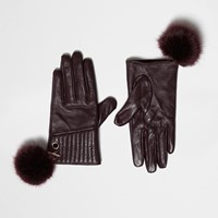 River Island Womens Red Leather Pom Pom Gloves