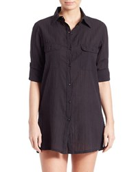 Lauren Ralph Lauren Cotton Camp Shirt Tunic Black