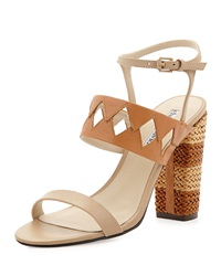 Charles David Jungle Woven Diamond Cutout Sandal Nude Cognac