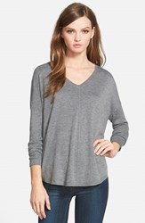 Trouve Women's Trouve 'Everyday' V Neck Sweater Grey Dark Heather