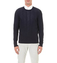 Slowear Cable Knit Virgin Wool Jumper Navy