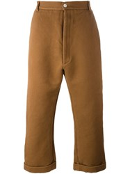 Sunnei Flared Cropped Trousers Brown