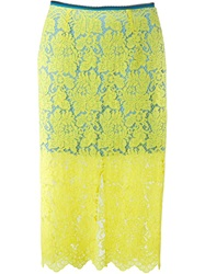 Preen By Thornton Bregazzi Floral Lace Midi Skirt Yellow And Orange