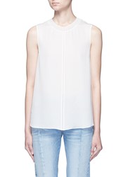 Vince Stitched Front Insert Sleeveless Blouse White