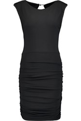 Maje Ruched Stretch Jersey Mini Dress Black