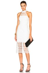 Nicholas Mosaic Lace Halter Dress In White