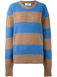 Msgm Striped Jumper Blue