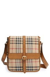 Burberry 'Bryett' Horseferry Check And Leather Crossbody Bag Tan