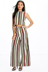 Boohoo High Waisted Striped Wide Leg Trousers Multi
