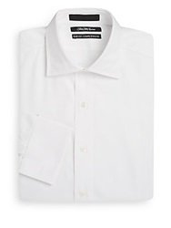 Saks Fifth Avenue Slim Fit French Cuff Cotton Dress Shirt White