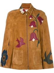 Red Valentino Bird And Flower Detailed Cape Brown