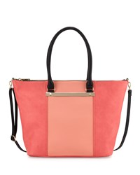Neiman Marcus Sybil Bar Colorblock Tote Bag Blush Coral