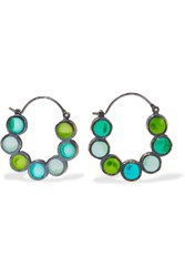 Bottega Veneta Oxidized Silver Crystal Hoop Earrings Green
