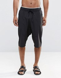 Asos Drop Crotch Swim Shorts In Black With Double Waistband Black