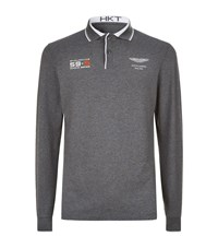 Hackett Aston Martin Racing Team Long Sleeve Polo Top Male Grey