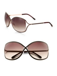 Tom Ford Rickie Oversized Oval Sunglasses Brown