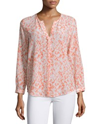 Joie Peterson B Printed Silk Blouse Deep Starfish