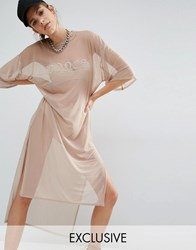 Bones Oversized Boxy Sheer Mesh T Shirt Dress Nude Beige
