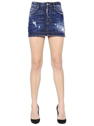 Dsquared Washed And Destroyed Stretch Denim Skirt