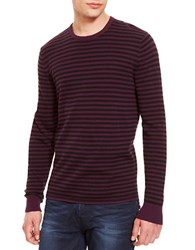 Kenneth Cole Striped Crew Neck Pullover Dark Berry