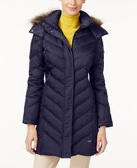 Kenneth Cole Petite Faux Fur Trim Chevron Down Puffer Coat Midnight