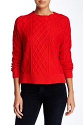 Rachel Zoe Elbow Patch Cable Sweater Red