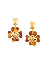 Chanel Vintage Clover Cc Clip On Earrings Metallic