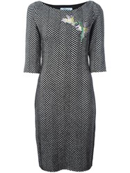 Blumarine Herringbone Knit Dress Black