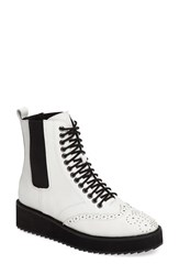 Shellys Women's London Lily Lace Up Chelsea Platform Wedge Boot White Leather