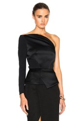 Roland Mouret Dryden Double Faced Satin And Viscose One Shoulder Top In Black