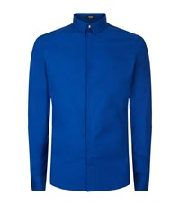 Versus By Versace Embroidered Lion Back Shirt Male Blue