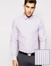 Asos Smart Shirt In Long Sleeve With End On End Stripe Pink