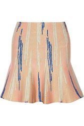 Issa Printed Stretch Jacquard Mini Skirt Nude