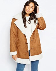Influence Sherp Suede Jacket Tan Brown