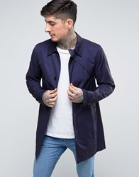 Pretty Green Mayfair Trench Coat In Navy Navy