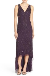 Adrianna Papell Women's Embellished Mesh A Line Gown Amethyst